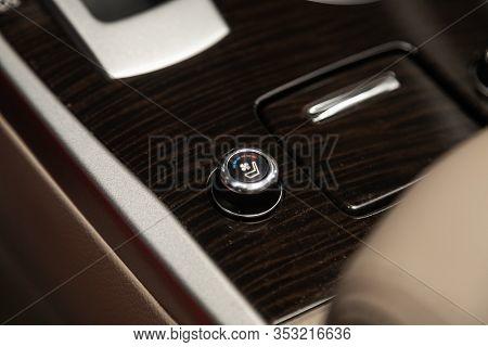 Novosibirsk, Russia - December 29, 2019:  Nissan Teana,  Close-up Of Seat Heating Buttons. Modern Ca