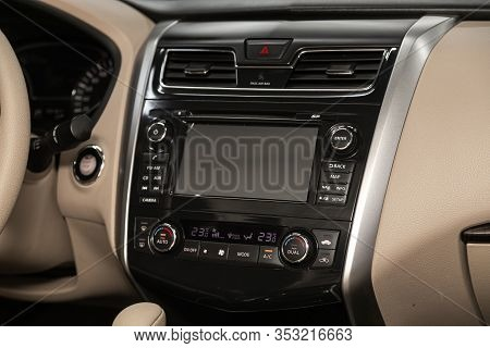 Novosibirsk, Russia - December 29, 2019:  Nissan Teana, Close-up Of The Central Control Panel, Monit