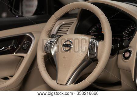 Novosibirsk, Russia - December 29, 2019:  Nissan Teana, Black Luxury Car Interior - Dashboard, Playe