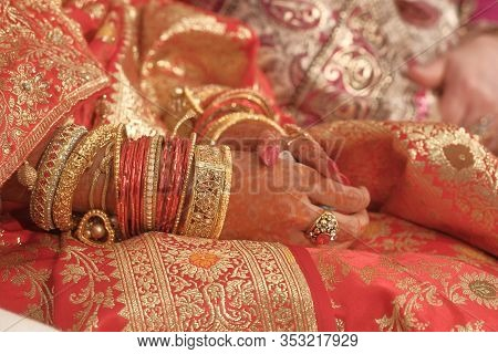Close Up Of Indian Bride Hand With Jewelry