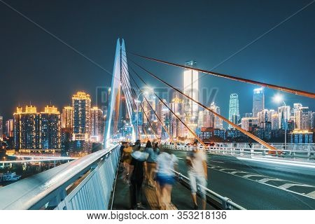 Chongqing, China - June 12, 2018 : Chongqing Skyline At Night View From A Bridge