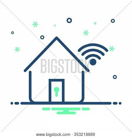 Mix Icon For Home Network Security Protection Monitor Wifi Internet