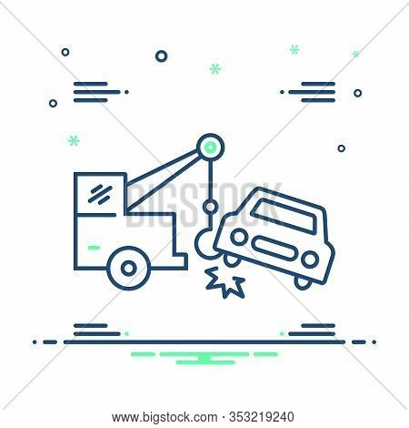 Mix Icon For Car-towing Car Towing Tow Accident Breakdown