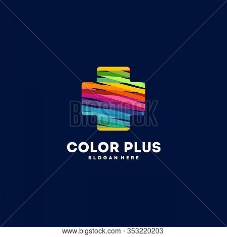 Colorful Plus Healthcare Logo Vector, Plus Logo Designs Template, Design Concept, Logo, Logotype Ele