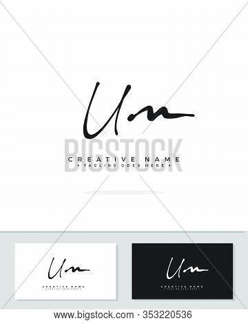 U M Um Initial Logo Signature Vector. Handwriting Concept Logo.