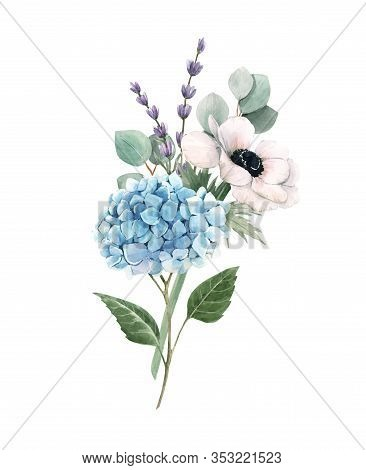 Beautiful Gentle Bouquet With Watercolor Blue Hydrangea Flowers And White Anemones With Lavander. St