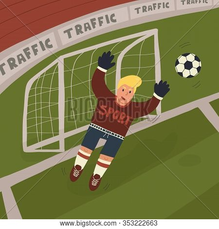 Fun Hand Drawn Goalkeeper Catching Or Blocking The Ball In Jump On Pitch Background. Flat Vector Iso