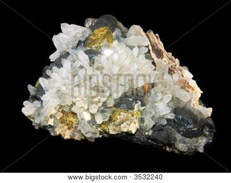 Crystals Of A Pirit And Quartz