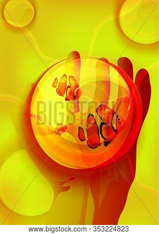 Magic Crystal Ball In Hand, Sea Fish In A Glass Transparent Bowl On A Man's Hand. Orange Background,