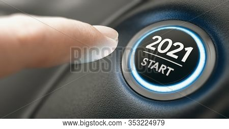 Finger About To Press A Car Ignition Button With The Text 2021 Start. Year Two Thousand And Twenty O