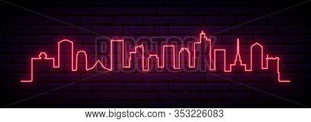 Red Neon Skyline Of Phoenix City. Bright Phoenix Long Banner. Vector Illustration.