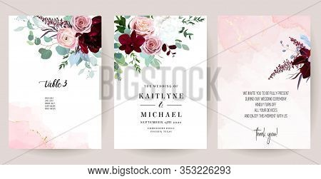 Elegant Wedding Cards With Pink Watercolor Texture And Spring Flowers. Burgundy Red Peony, Pink Ranu