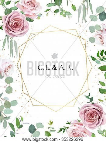 Geometric Floral Vector Design Frame. Pale Pink And Creamy White Rose, Eucalyptus, Greenery. Trendy