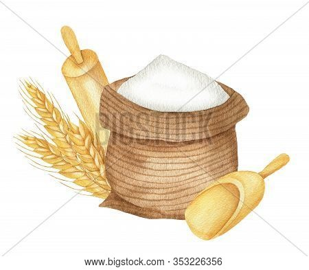 Illustration Of Wheat, Flour Sack, Rolling Pin And Shovel For Flour. On A White Background. Watercol