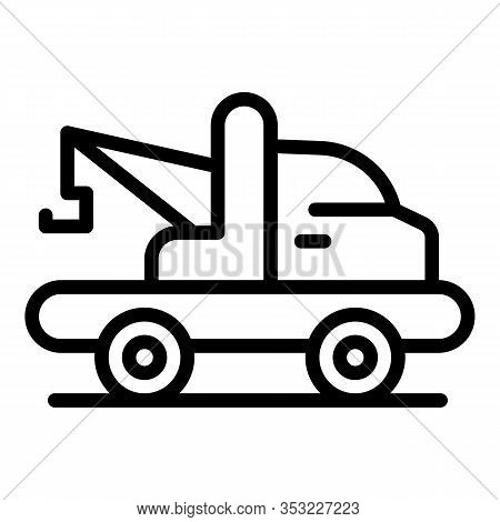 Emergency Tow Truck Icon. Outline Emergency Tow Truck Vector Icon For Web Design Isolated On White B