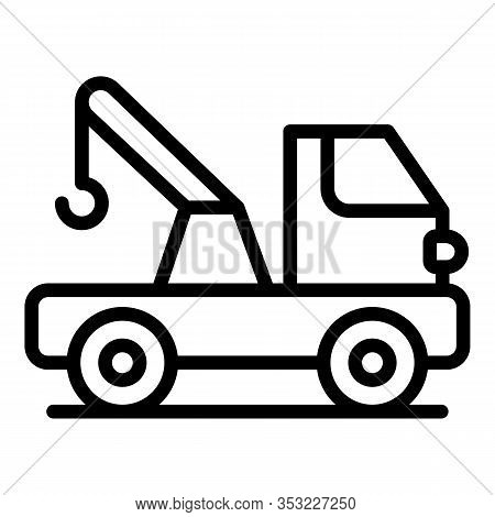 Highway Tow Truck Icon. Outline Highway Tow Truck Vector Icon For Web Design Isolated On White Backg