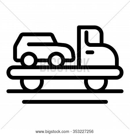 Broken Car Tow Truck Icon. Outline Broken Car Tow Truck Vector Icon For Web Design Isolated On White
