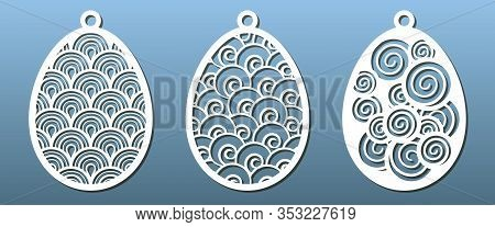 Set Of Templates For Laser Cut. Pendant, Keychain, Decorative Easter Egg Ornate With Abstract Patter