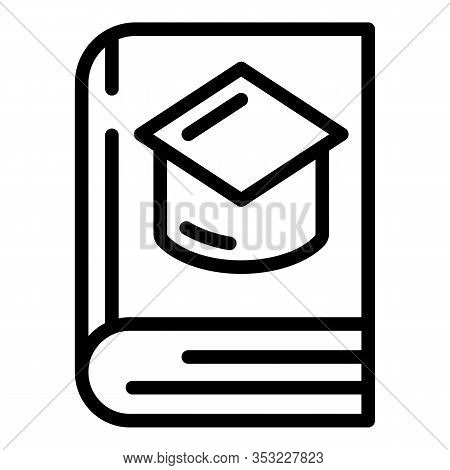 Book And Academic Hat Icon. Outline Book And Academic Hat Vector Icon For Web Design Isolated On Whi