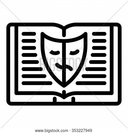 Book And Acting Mask Icon. Outline Book And Acting Mask Vector Icon For Web Design Isolated On White