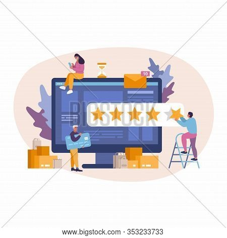 Vector Concept Illustration Of E-commerce Online Shopping Business. Girl Leaves A Review. 5 Star Rat
