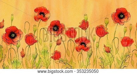 Horizontal Seamless Border With Red Poppy Flowers. Botanical Floral Garland Isolated On Retro Fon. W