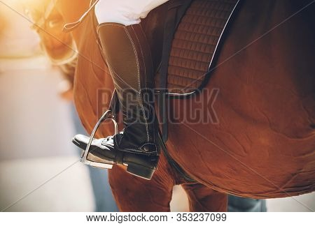 On A Bay Horse In The Saddle Sits A Rider, Whose Foot Is Dressed In A Black Boot And Rests On A Meta