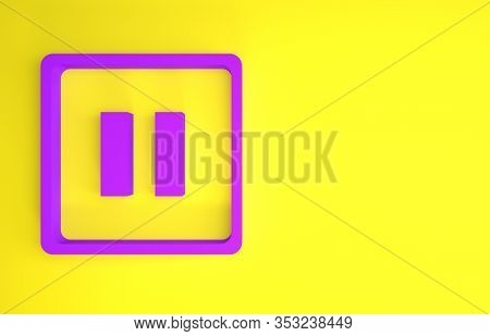 Purple Pause Button Icon Isolated On Yellow Background. Minimalism Concept. 3d Illustration 3d Rende