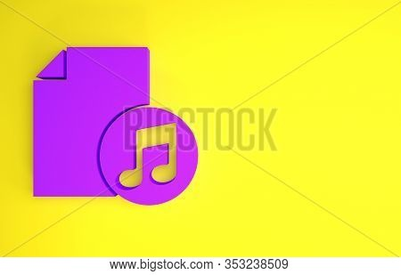 Purple Music Book With Note Icon Isolated On Yellow Background. Music Sheet With Note Stave. Noteboo