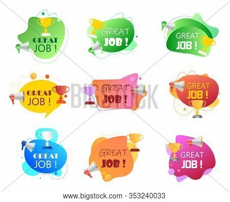 Megaphone With Great Job Speech Bubble. Loudspeaker And Prize For Successful Employees. Set Of Fluid