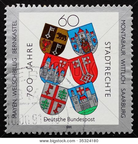 Postage stamp Germany 1991 Town Charters