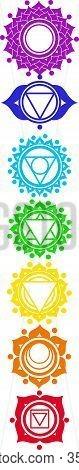 Yoga Icons With Chakras