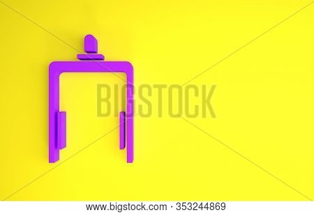 Purple Metal Detector In Airport Icon Isolated On Yellow Background. Airport Security Guard On Metal