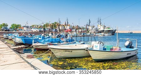 Sozopol, Bulgaria - Sep 09, 2019: Fishing Boats In Port On A Sunny Day
