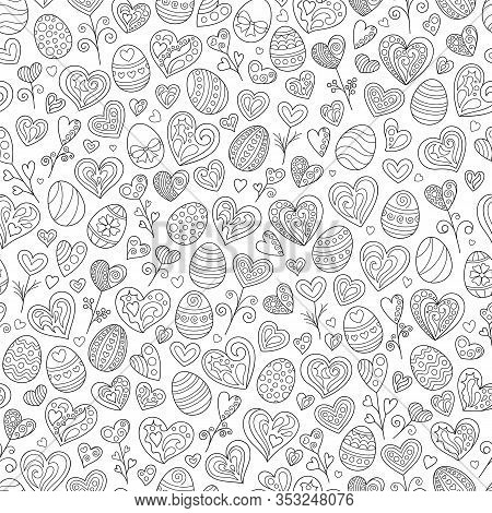 Cartoon Celebratory Seamless Pattern Of Black Outline Doodles Easter Eggs And Hearts On White Backgr