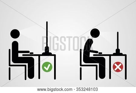 Correct Back Sitting Position At The Computer. Vector Illustration. Good And Bad Posture