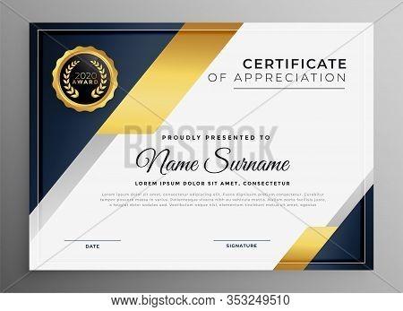 Geometric Premium Golden Multipurpose Certificate Template Design