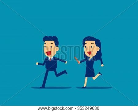Passing Baton To Colleague In Relay Race. Business Office Teamwork Concept, Cute Flat Cartoon Charac
