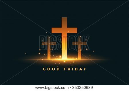 Glowing Three Cross Good Friday Concept Background