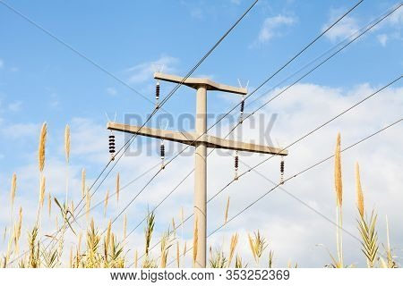 Power Pylon.  A View Of Electrical Power Lines And A Pylon In The Countryside Of Southern Turkey.