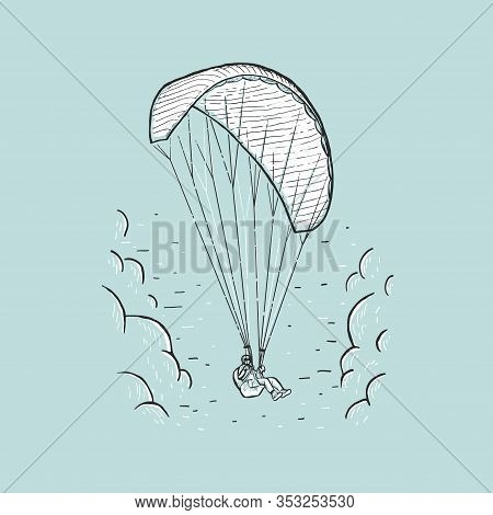 Vector Paraglider. Sketch Color Illustration With Hand Drawn Skydiver Flying With A Paraglider. Extr