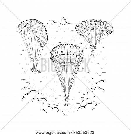 Sketch Vector Illustration With Hand Drawn Skydivers Flying With A Paraglider And Parachute. Extreme