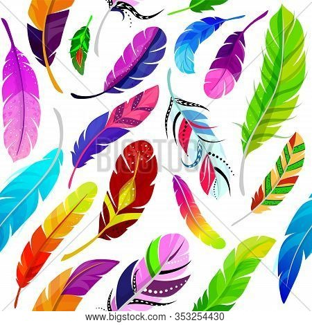 Feathers Seamless Pattern Vector Illustration In Flat Style. Colored Different Light Soaring Magic F