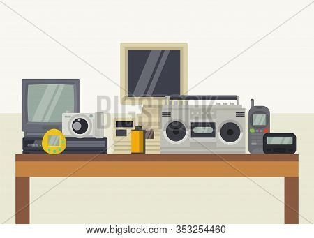 Vintage Retro Audio Video Electronic Devices Gadgets Vector Illustration. Tape Cassette Recorder, Te