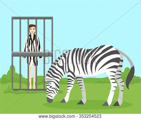 Stop Killing Animals Due To Fur And Saving Wild Animals Life Vegetarian Concept Vector Illustration.