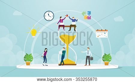 Team Deadline Concept With Work Hour Glass Time With Modern Flat Style Vector