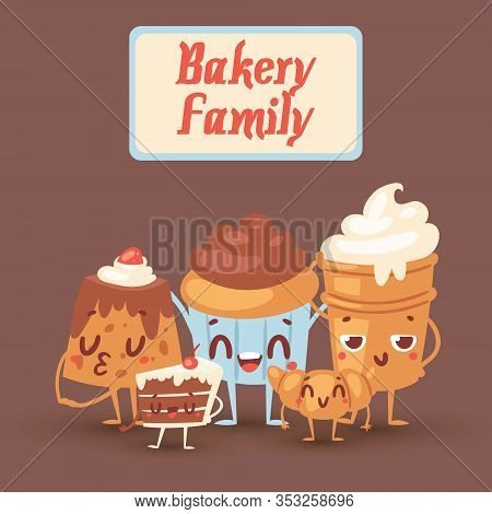Cute Bakery Kawaii Family Vector Illustration With Yummy Cakes, Biscuits, Bread And Cupcakes With Ey