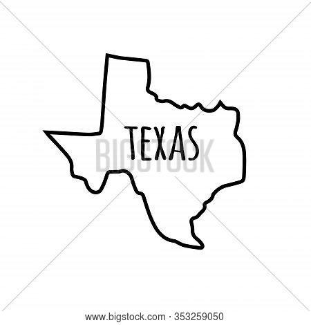 Vector Outline Hand Drawn Texas State Map Silhouette Isolated On White Background