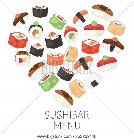 Sushi Bar Menu Japanese Traditional Cuisine Dishes For Sushi Restaurant Vector Illustration Poster.