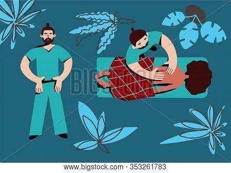 Massage. Health Care Concept. Masseur Working Client.